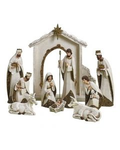 Gold and Ivory Christmas Nativity Set