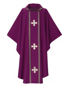 Gold Crosses Cowl Collar Clergy Chasuble