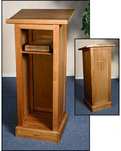 Full Altar Lectern with Shelf Walnut Finish