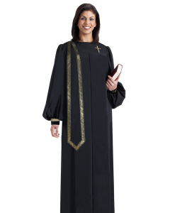 Women's Evangelist Clergy Robe Black with Detachable Stole