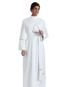 Women's White Clergy Cassock with Metallic Cuffs