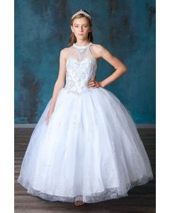 High Neck Sleeveless Stone Bodice with Beautiful Pattern of Glitter