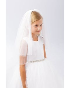 First Communion Veil with Clear Seed and Cylinder Beads
