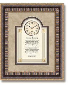House Blessing Framed Christian Wall Clock