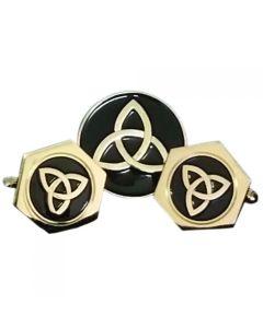 Irish Celtic Trinity Cufflinks and Lapel Pin Gift Set