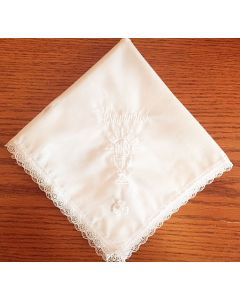Irish Shamrock First Communion Lace Hanky