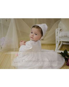 Irish Christening Gown with Scattered Shamrocks