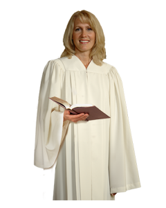 Ivory Linen Choir Robe with Open Sleeves