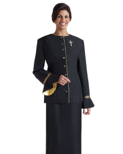 Women's Black Clergy Jacket with Banding with Gold Trim