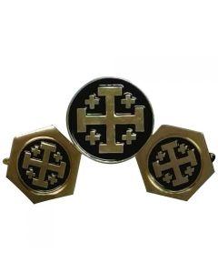 Jerusalem Cross Cufflinks and Lapel Pin Gift Set