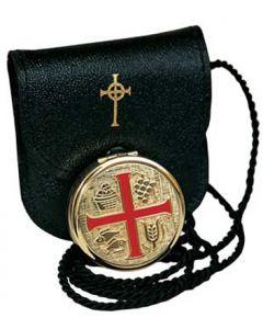 Hospital  Communion Pyx with Enamel Cross  with Burse