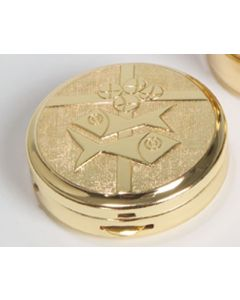 Communion Pyx with Bread, Fish and Cross 10 Cap