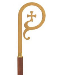 Bishop Crozier with Walnut Staff Satin Brass