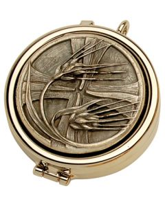 Communion Pyx with Wheat and Cross Design 7 Host Cap