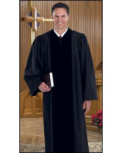 Black Pulpit Robe with Velvet Panels
