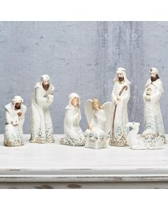 Lace Trim Nativity Set with Angel and Camel