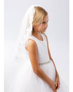 First Communion Veil with Lace Floral Edge