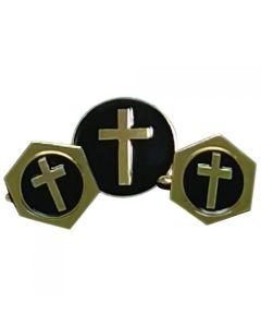 Latin Cross Cufflinks and Lapel Pin Gift Set