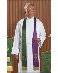 Jacquard Purple/Green Reversible Clergy Overlay Stoles Set of 2