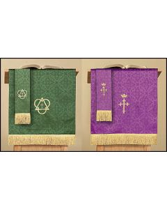 Reversible Pulpit Scarf with Cross: Purple/Green Parament