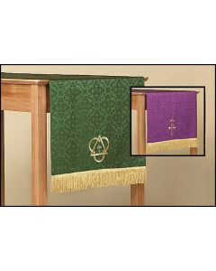 Reversible Table Runner with Cross: Purple/Green Parament