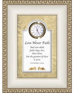 Love Never Fails - I Corinthians 13 Tabletop Christian Clock