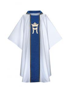 Marian Crown Velvet Trim Clergy Chasuble