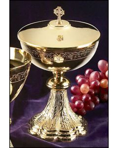 Grapes & Wheat Ciborium with Irish Celtic Cross Cover