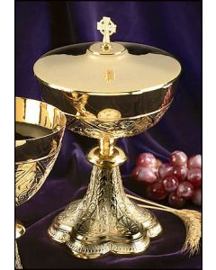 Embossed Vines Ciborium with Irish Celtic Cross Cover