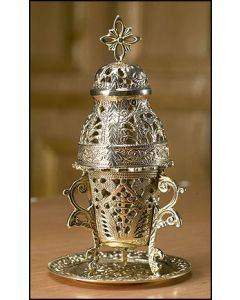 Ornate Incense Burner with Tray