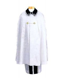 White Clergy Cape with Cross Brocade