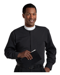 Men's Banded Collar Black Clergy Shirt