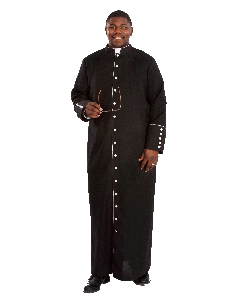 Lightweight Mens Black Bishop Cassock With Silver Highlights