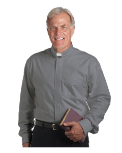 Men's Long Sleeve Tab Collar Gray Clergy Shirt