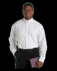 Men's Long Sleeve Tab Collar White Clergy Shirt