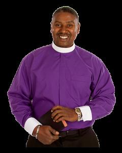 Men's Purple Neckband Clergy Shirt