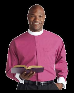 Men's Roman Purple Neckband Clergy Shirt