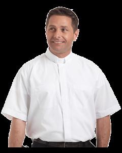 Men's Short Sleeve Tab Collar White Clergy Shirt