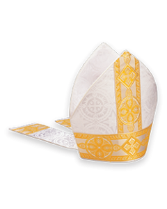 Bishop's Mitre White Brocade with Gold
