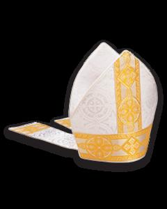 Bishop's Mitre White Brocade with Gold