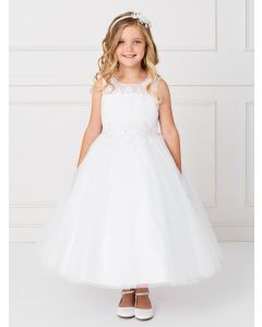Holy Communion Dress with Tulle Pleated Bodice with Floral Applique