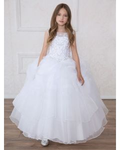 First Communion Dress with Multi Layered Skirt Rhinestone Halter Bodice