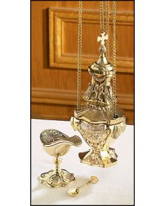 Cast Brass Censer with Boat Set