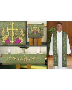 Embroidered Jacquard Set w/Cross & Vine Design Parament Set