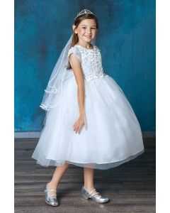Breathtaking Satin First Communion Dress with tulle overlay