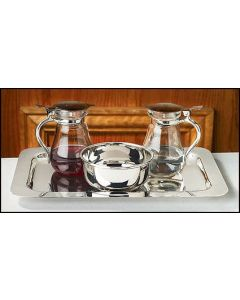 Nickel Plated Cruet Set with Tray and Bowl