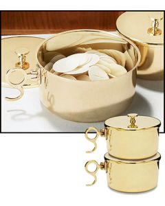 150 Host Brass Stacking Ciborium with Lid