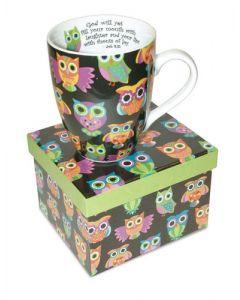 Owl Job 8:21 Christian Coffee Mug Gift Boxed
