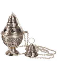 Oxidized Silver and Gold Church Censer and Boat