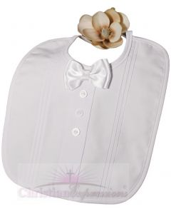 Boys Christening Bib with Bowtie